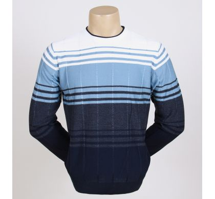 Свободный джемпер с полосками (1019), цвет Сине-белый, D.Steech, фото № 1