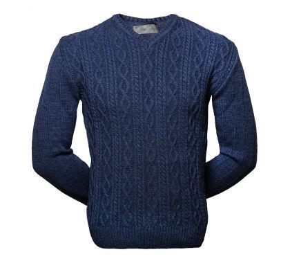 Пуловер с косами (1329) большие размеры, цвет синий, D.Steech, фото № 1