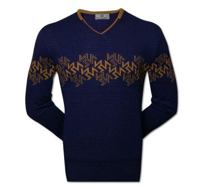 Пуловер с орнаментом (1390), цвет синий-горчица, D.Steech, фото № 1