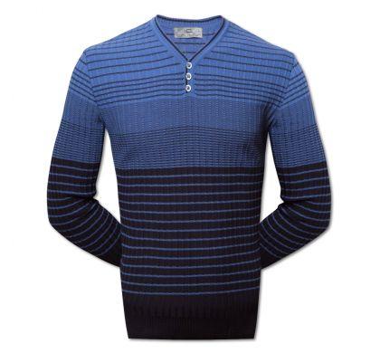 Полосатый пуловер 3XL-5XL (1519), цвет синий-электрик, D.Steech, фото № 3