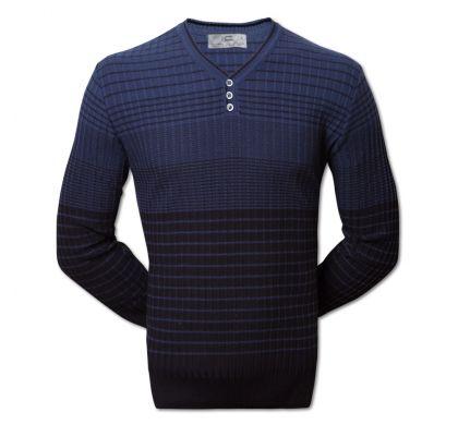 Полосатый пуловер 3XL-5XL (1519), цвет синий-джинс, D.Steech, фото № 4