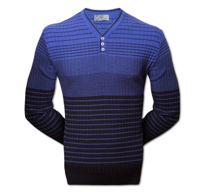 Полосатый пуловер 3XL-5XL (1519), цвет синий-голубой, D.Steech, фото № 5