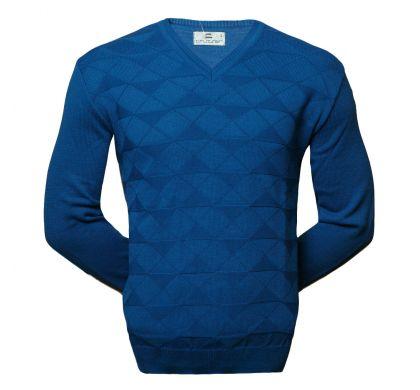 Пуловер с геометрическим узором 3XL-5XL (1625), цвет джинс, D.Steech, фото № 1