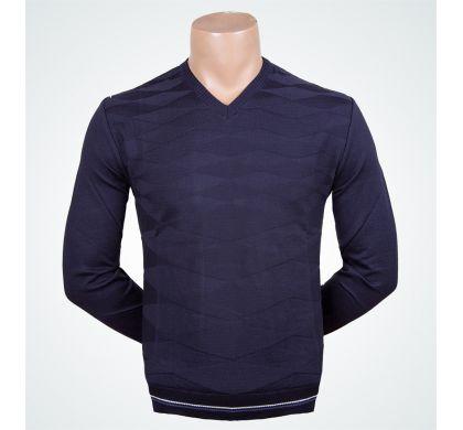 Классический пуловер, хлопок. (1221), цвет синий, D.Steech, фото № 1