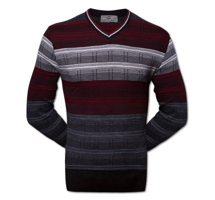 Классический пуловер S-M (1240-1), цвет чёрный-бордо, D.Steech, фото № 1