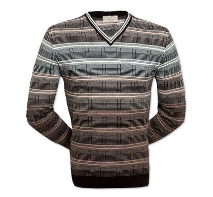 Классический пуловер S-M (1240-1), цвет чёрный-коричневый, D.Steech, фото № 2
