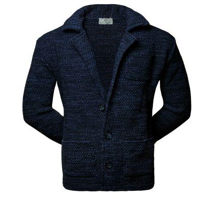 Стильный трикотажный пиджак 3XL-4XL(1755), цвет джинс, D.Steech, фото № 1