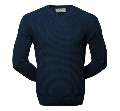 Классический пуловер с узором XL-5XL (1594), цвет синий, D.Steech, фото № 1
