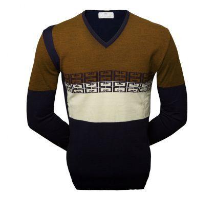 Пуловер с орнаментом (1372), цвет синий-горчица, D.Steech, фото № 2