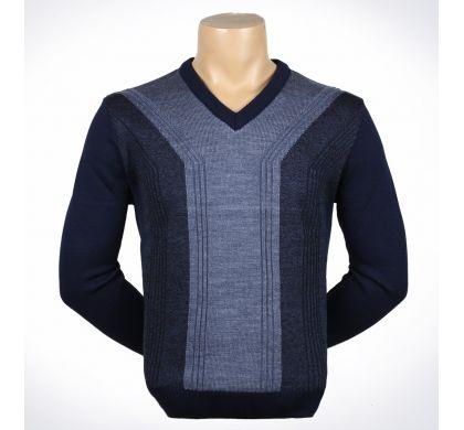 Классический пуловер (1324) большие размеры, цвет Синий-джинс, D.Steech, фото № 1