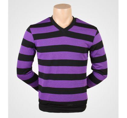 Легкая полосатая футболка (2094v), цвет Черно-сиреневый, D.Steech, фото № 7