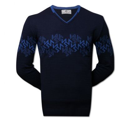 Пуловер с орнаментом (1390), цвет синий-джинс, D.Steech, фото № 2