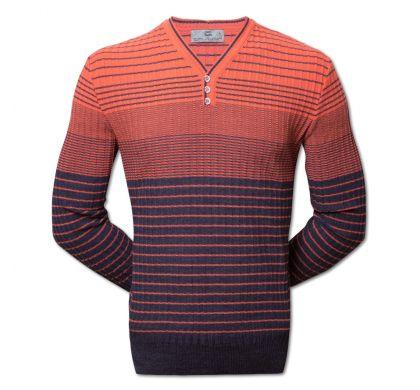 Полосатый пуловер (1497), цвет джинс-коралл, D.Steech, фото № 1