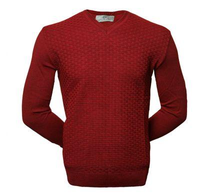 Классический пуловер с узором (1550), цвет бордо, D.Steech, фото № 1