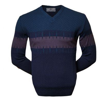 Стильный пуловер 3XL-5XL (1564), цвет синий-антрацит, D.Steech, фото № 1